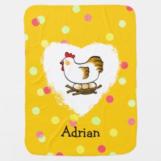 farm chicken hen and eggs receiving blanket