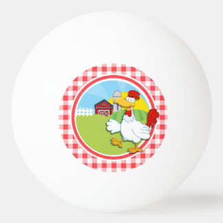 Farm Chicken; Red and White Gingham Ping-Pong Ball