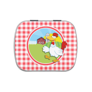 Farm Chicken; Red and White Gingham Jelly Belly Candy Tins