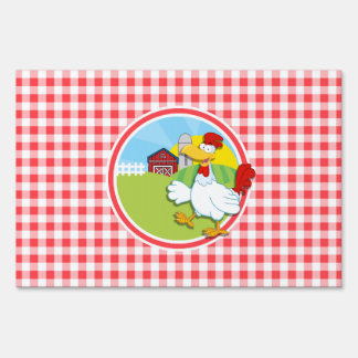 Farm Chicken; Red and White Gingham Lawn Sign