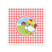 Farm Chicken; Red and White Gingham Napkin