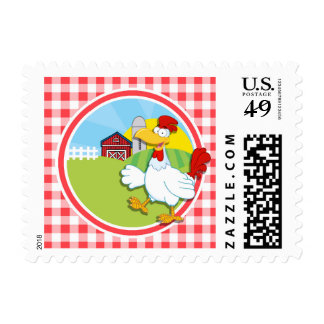 Farm Chicken; Red and White Gingham Stamp