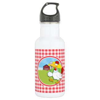 Farm Chicken; Red and White Gingham Stainless Steel Water Bottle