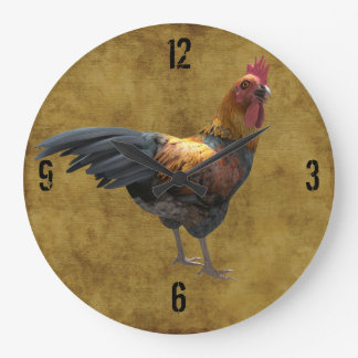 Farm Chicken Rooster Rustic Country Barnyard Style Round Wall Clocks