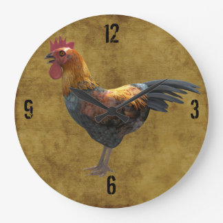 Farm Chicken Rooster Rustic Country Barnyard Style Round Wall Clock