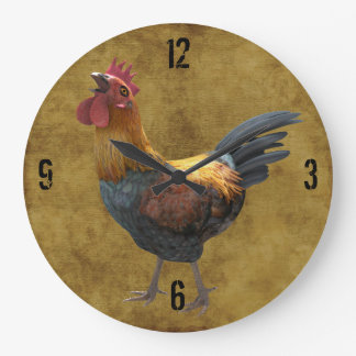 Farm Chicken Rooster Rustic Country Barnyard Style Round Wallclocks