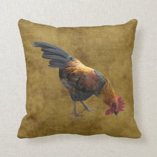 Farm Chicken Rooster Rustic Country Barnyard Style Throw Pillows