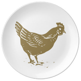Farm Chicken Silhouette Dinner Plate
