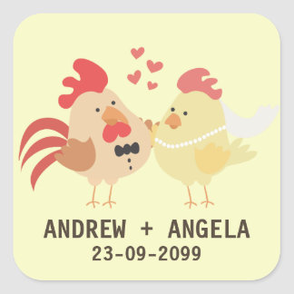 Farm Chicken Wedding Save the Date Sticker