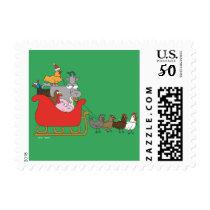 Farm Christmas Postage Stamps