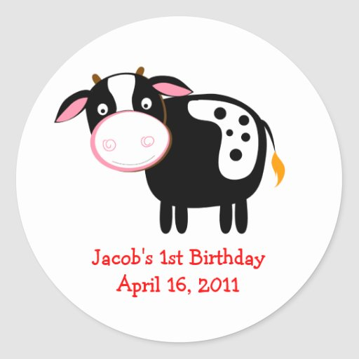 FARM COW Baby Shower or Birthday Favor Stickers
