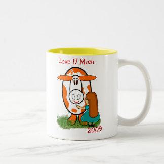 Farm Cow Love U Mom Two-Tone Coffee Mug