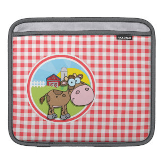 Farm Cow; Red and White Gingham iPad Sleeve
