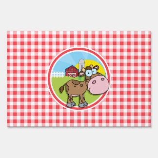 Farm Cow; Red and White Gingham Lawn Signs