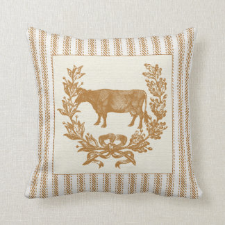 Farm Cow with Wreath on Brown Ticking Throw Pillow