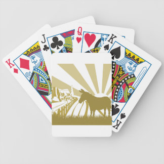 Farm donkey rolling fields bicycle playing cards