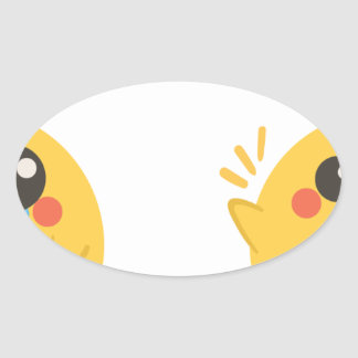 farm emojis - they chicken oval sticker