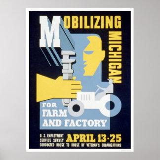 Farm Factory Michigan 1943 WPA Poster