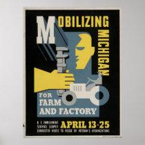 Farm Factory Mobilizing Michigan 1943 WPA Vintage Poster