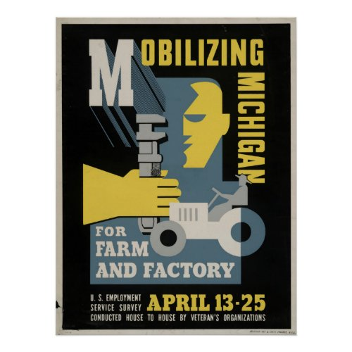 Farm Factory Mobilizing Michigan 1943 WPA Vintage