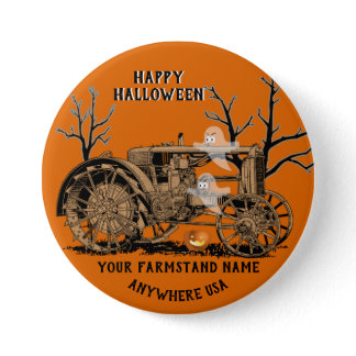FARM FARMSTAND GHOST TRACTOR FARMING HALLOWEEN BUTTON