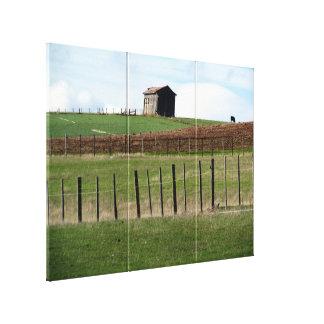 farm fence triptych canvas print
