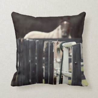 farm fence with horse behind sepia throw pillow