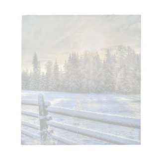 Farm Field in Winter Snow at Sunrise Notepad