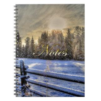Farm Field in Winter Snow at Sunrise Spiral Notebook