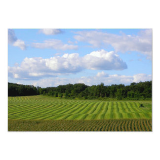Farm field striped land farmer harvesting photo card