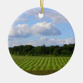 Farm field striped land farmer harvesting photo ceramic ornament