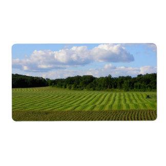 Farm field striped land farmer harvesting photo label