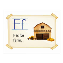 Farm flashcard postcard