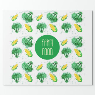 """""""Farm food"""" label with vegetable Wrapping Paper"""