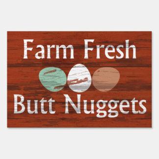 Farm Fresh Buttnuggets Egg Advertising Yard Sign