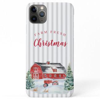 FARM FRESH Christmas Barn Tractor Ticking Stripe iPhone 11 Pro Max Case