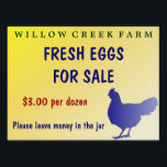 "Farm Fresh Eggs for Sale Yard Sign Customizable!<br><div class=""desc"">Farm Fresh Eggs for Sale Yard Sign is fully customizable!  Change the price,  add or delete text.  Add a picture of your farm&#39;s logo!  It up to your imagination! Great for backyard chicken enthusiasts.</div>"