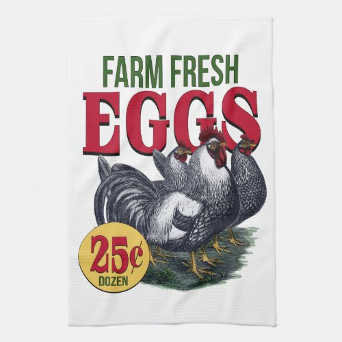 Farm Fresh Eggs French Rooster And Chicken's Kitchen Towel