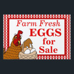 "Farm Fresh Eggs Sign Cartoon Chicken with Eggs<br><div class=""desc"">This funny custom yard sign has a cartoon red laying hen holding up a basket of eggs. The sign says Farm Fresh Eggs for Sale, but you can change this in the template if you want to personalize. Click customize to change the font style or color. The background is a...</div>"