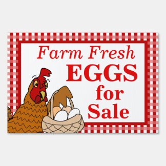 Farm Fresh Eggs Sign Cartoon Chicken with Eggs