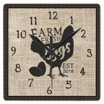 Farm Fresh Farmhouse Style Rustic Clock with Year