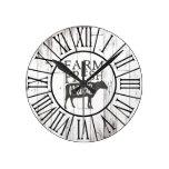 Farm Fresh Milk Cow White Wood Country Farmhouse Round Clock