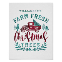 Farm Fresh Old Red Truck Christmas Tree Delivery Poster