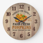 Farm Fresh Pumpkins Large Clock