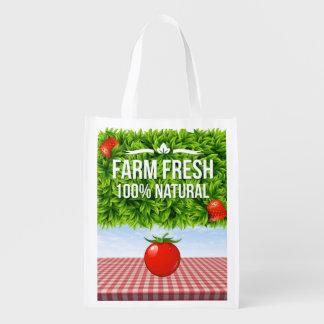 Farm Fresh Reusable Grocery - Gift - Treat Bag Market Tote