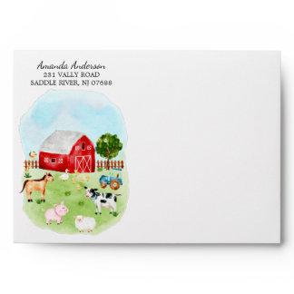 Farm Friends Baby Shower Envelope