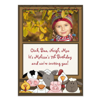 Farm Friends Photo Birthday Party  Invitation