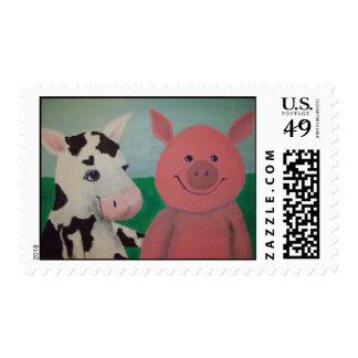 Farm Friends Postage Stamp