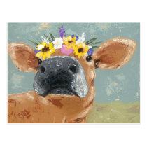 Farm Fun - Cow with Flower Crown Postcard