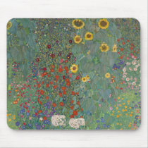 Farm Garden Sunflowers by Gustav Klimt Painting Mouse Pad